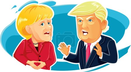 Caricature  of Angela Merkel and Donald Trump