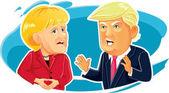 Caricature  of Angela Merkel and Donald Trump