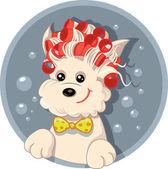 Funny Dog with Hair Rollers Pet Salon Vector Cartoon