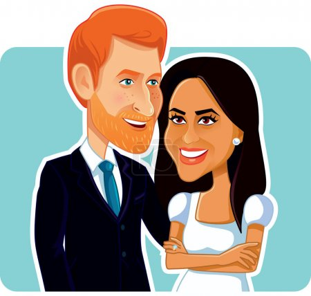 Photo for Meghan Markle and Prince Harry Vector Editorial Caricature - Royalty Free Image