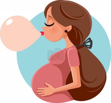 Illustration pour Drôle bulle gomme enceinte femme vecteur dessin animé - image libre de droit