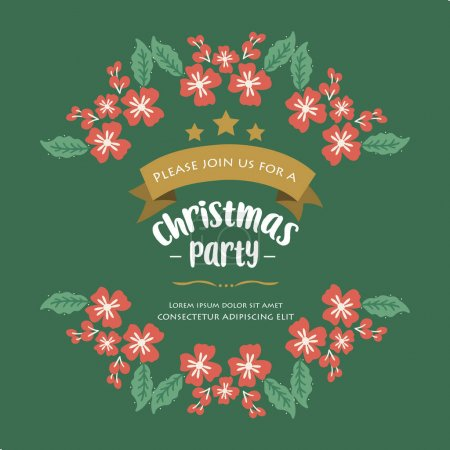 Illustration for Invitation template or poster for christmas party, with ornament pattern of leaf flower frame. Vector illustration - Royalty Free Image
