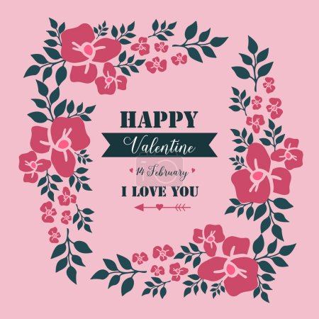 Illustration for Wallpaper for happy valentine poster, with cute leaf flower frame texture. Vector illustration - Royalty Free Image