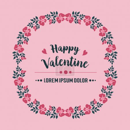 Illustration for Handwritten poster of happy valentine, with cute leaf flower frame pattern. Vector illustration - Royalty Free Image