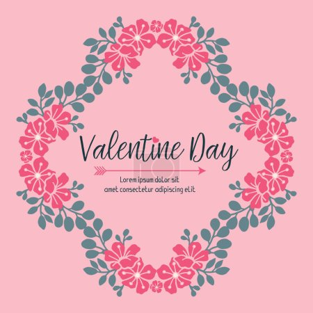 Illustration for Valentine day text ornate, with pink flower frame on pink background. Vector illustration - Royalty Free Image