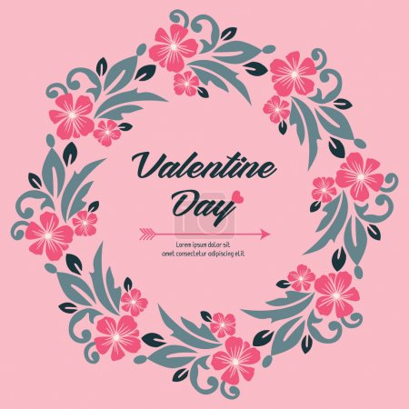 Illustration for Greeting card template of valentine day, with seamless leaf flower frame. Vector illustration - Royalty Free Image