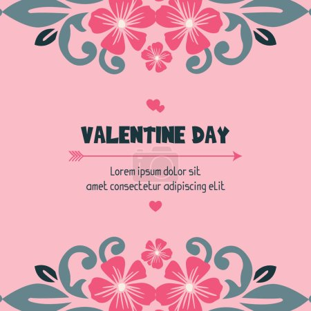 Illustration for Card design valentine day, with pink flower frame beauty. Vector illustration - Royalty Free Image