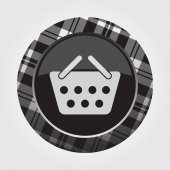 Black isolated button with gray black and white tartan pattern on the border - light gray shopping basket icon in front of a gray background