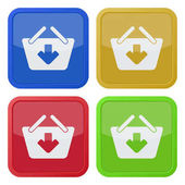 Set of four square colored buttons and icons shopping basket add