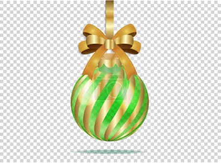 Illustration for Golden christmas glass ball with gold stripes and bow on transparent background. Isolated xmas decoration. Realistic vector illustration for your business and design. All elements are editable. EPS10 - Royalty Free Image