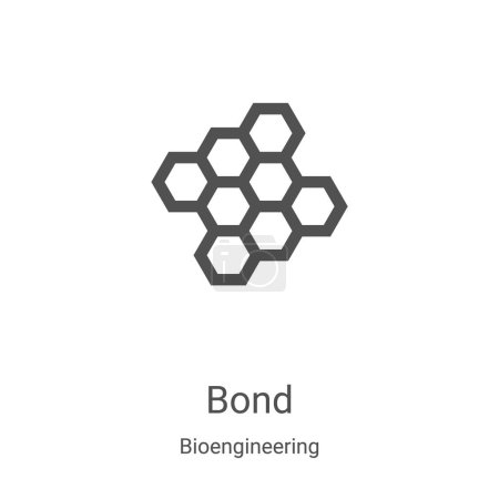 bond icon vector from bioengineering collection. Thin line bond outline icon vector illustration. Linear symbol for use on web and mobile apps, logo, print media