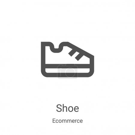 shoe icon vector from ecommerce collection. Thin line shoe outline icon vector illustration. Linear symbol for use on web and mobile apps, logo, print media