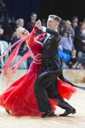 Unidentified Professional Dance Couple Performs Youth Latin-American Program on WDSF Minsk Open Dance Festival-2017