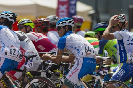 Group of Youth Road Cyclists in Professional Peloton During International Road Cycling Competition Grand Prix Minsk-2017