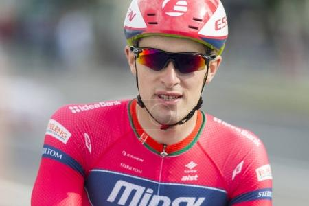 Professional Road Cyclist Evgeny Korolek Poses as a Winner of the International Road Cycling Competition Grand Prix Minsk-2017