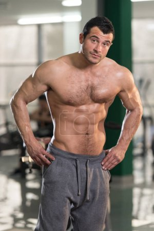 Hairy Muscular Man Flexing Muscles In Gym