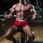Muscular Fitness Bodybuilder Doing Heavy Weight Ex...
