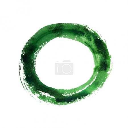 Photo for Green Watercolor Ring Isolated on White Background. - Royalty Free Image