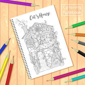 coloring page picture house with ca