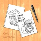 coloring book with Halloween page picture