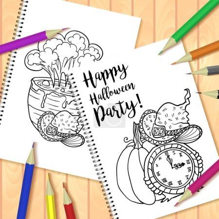 Photo pour Illustration vectorielle conception de carte dessinée à la main pour la fête d'Halloween - image libre de droit