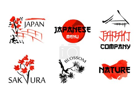 Illustration for Logo templates set with asia landscapes, buildings and blossoming sakura branchs symbols in traditional japanese sumi-e style. Vector sign for design - Royalty Free Image