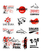 Logo templates set with asia elements