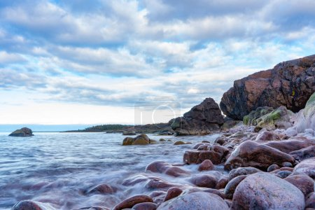 Waves in the Baltic Sea. Photo of Scandinavian nat...
