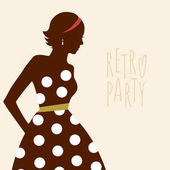 Beauty girl silhouette in retro dress Retro banner with young lady Vector illustration