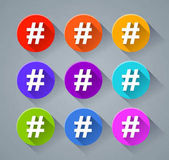 hashtag icons with various colors