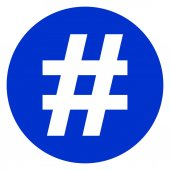 hashtag circle blue icon