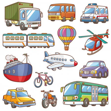 Photo pour Illustration vectorielle du vocabulaire de transport de bande dessinée - image libre de droit