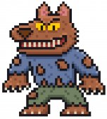 Vector illustration of Cartoon Werewolf - Pixel design