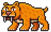 Vector illustration of Cartoon saber tooth tiger - Pixel design