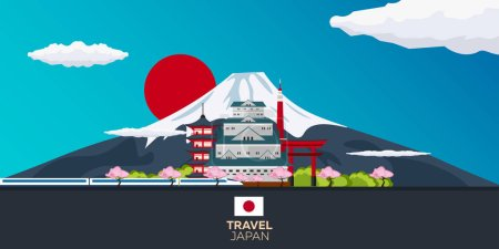 Travel to Japan. Tokyo. Mountain. Vector illustration.