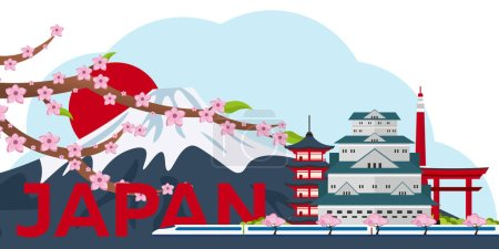 Poster Travel to Japan. Mountain. Sakura japan cherry branch with blooming flowers vector illustration. Banner. Vector illustration.