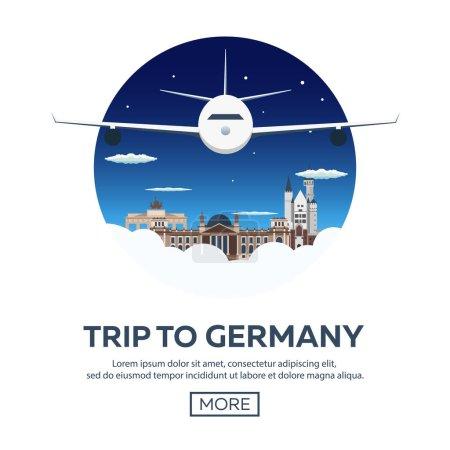 Travel to Germany, Berlin Poster skyline. Reichstag, Brandenburg Gate. Vector illustration.