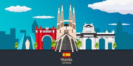 Travel to Spain skyline. Sagrada Familia. Vector flat illustration.