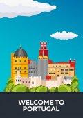 Poster Travel to Portugal skyline Vector flat illustration