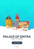 Portugal Palace of Sintra Time to travel Travel poster Vector flat illustration