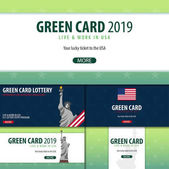 Set of Green Card Lottery banners Immigration and Visa to the USA