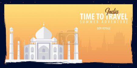 India banner. Time to Travel. Journey, trip and vacation. Vector flat illustration.