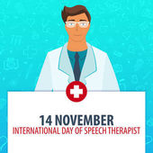 14 november International day of Speech Therapist Medical holiday Vector medicine illustration