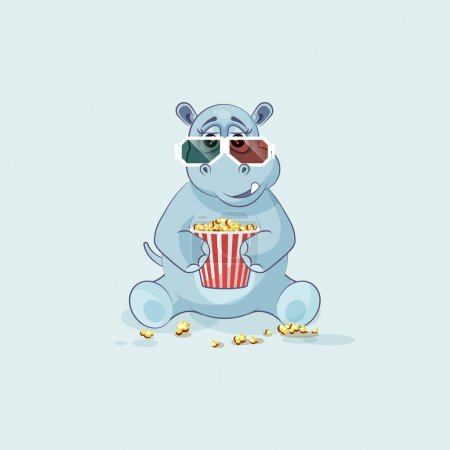 Illustration for Vector Stock Illustration Emoji character cartoon Hippopotamus chewing popcorn, watching movie 3D glasses sticker emoticon for site, info graphic, video, animation, website, mail, newsletter, report - Royalty Free Image