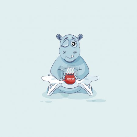 Illustration for Vector Stock Illustration isolated Emoji character cartoon ballerina Hippopotamus just woke up with cup of coffee sticker emoticon for site, info graphic, video, animation, website, mail, newsletter - Royalty Free Image