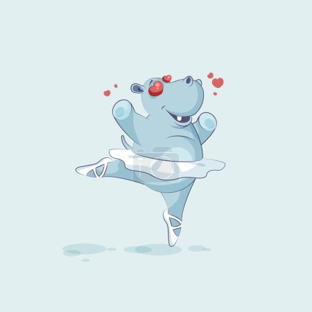 Illustration for Vector Stock Illustration isolated Emoji character cartoon ballerina Hippopotamus in love flying with hearts sticker emoticon for site, info graphic, video, animation, website, mail, newsletter, comic - Royalty Free Image