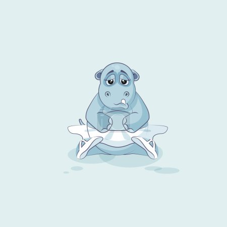 Illustration for Vector Stock Illustration isolated Emoji character cartoon ballerina Hippopotamus sad and frustrated sticker emoticon for info graphics, video, animation, websites, mail, newsletter, report, comics - Royalty Free Image