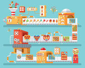 vertical illustration of isolated conveyor for production and packaging candies lollipops  sweets in flat style