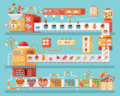 illustration of isolated conveyor for production and packaging candies lollipops  sweets in flat style