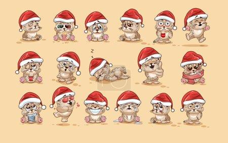 Illustration pour Set Vector Illustrations de stock isolé personnage Emoji dessin animé léopard autocollant émoticônes avec différentes émotions dans la casquette du Père Noël pour les salutations Joyeux Noël et bonne année . - image libre de droit